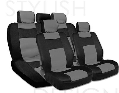New Black and Grey Synthetic Leather Mesh Car Seat Cover Set for SUBARU