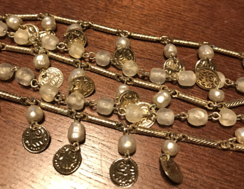 Vintage CORO Bracelet Gold Tone 5 Strand Bar Chain Cream Faux Pearl,Beads Signed - $19.99