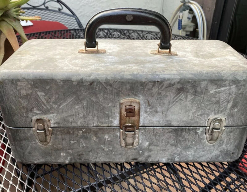 Old Vintage Galvanized Steel Tackle Box With Contents! Rare!