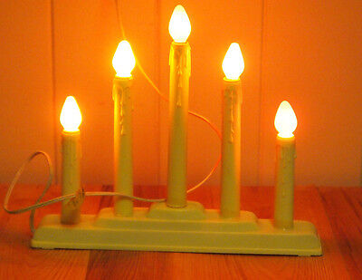 VTG NOMA 5 LIGHT CANDOLIER WITH ORANGE BULBS ELECTRIC CANDLE LIGHTS