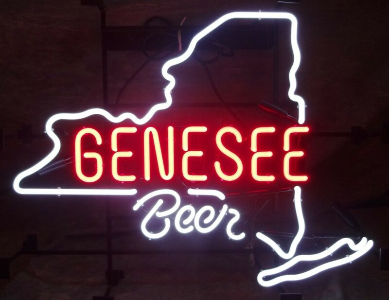 "17""x14""Genesee Beer Rochester New York State Neon Sign Light for Wall Decor Gift"