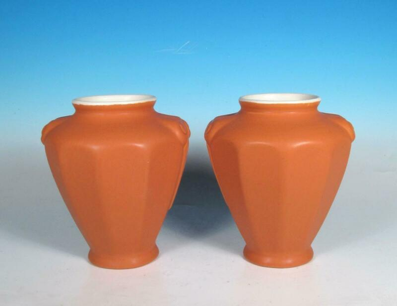 "Coors Porcelain Pottery PAIR Art Deco Scrolled ""Rams Head"" Pumpkin Orange Vases"