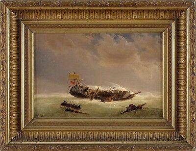 Altes Bild Öl/ Lwd. Havarierter Lastensegler  Baumann Adolf 1852
