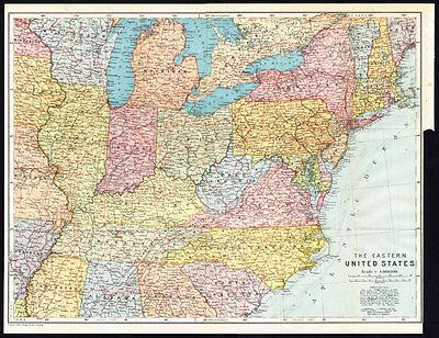 Antique Map-NORTH EASTERN USA-Karl Baedeker-Wagner & Debes-1909