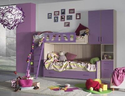 Cameretta bambine a soppalco struttura Olmo frontali spondina scaletta viola