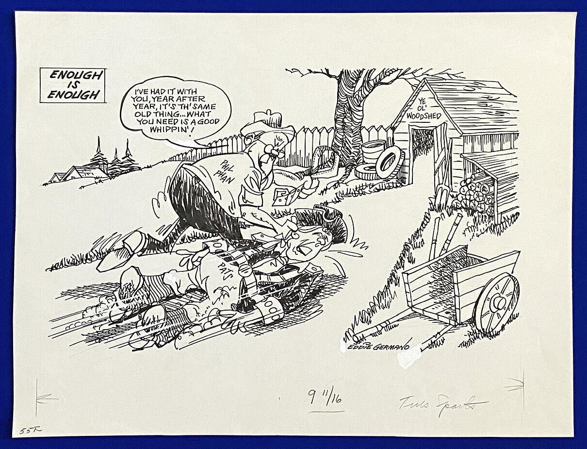 """1980's patriots """"enough is enough"""" 16x20 original cartoon art by eddie germano"""