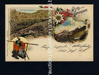 Schweiz GRUSS VOM GEMMIPASS Berner Alpen / Wallis * AK um 1900 Lithografie