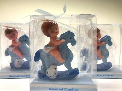 12 Baby Shower Favors Boy Blue Party Favors Candle Favors Party - Candle Party Favors