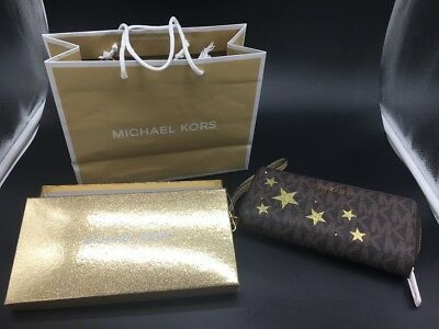 Michael Kors Illustrations Travel Wallet Wristlet Gold Stars Brown Logo MK NWT
