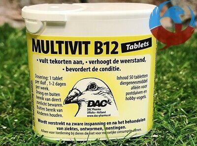 DAC MULTIVIT B12 50 TABS PIGEONS BIRDS RECOVERY VITAMINS RACING BREEDING GROWTH