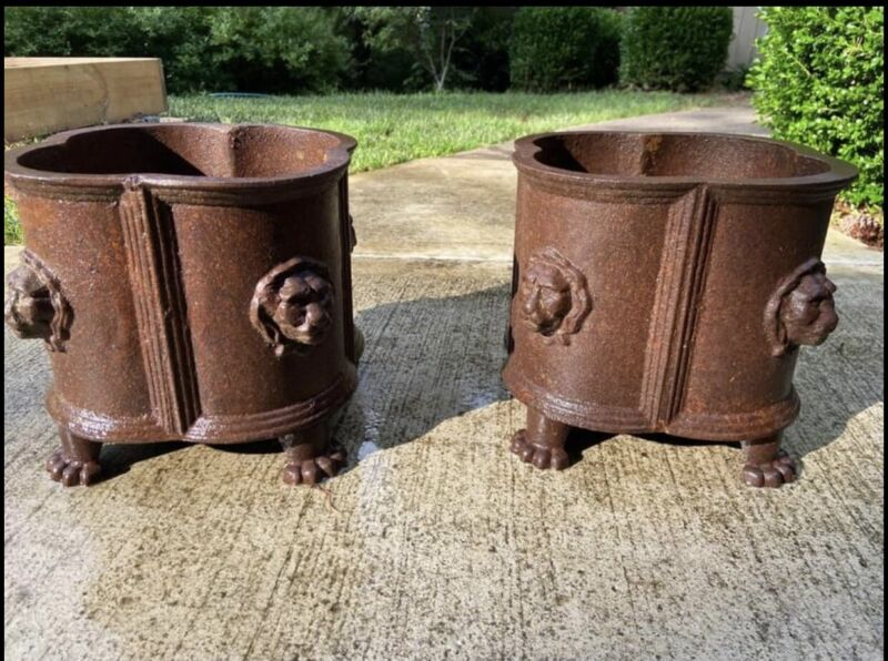 Antique French Cast Iron French Planters with Lion Heads