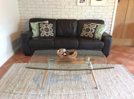 Chocolate Leather 3 seater sofa & large ottoman