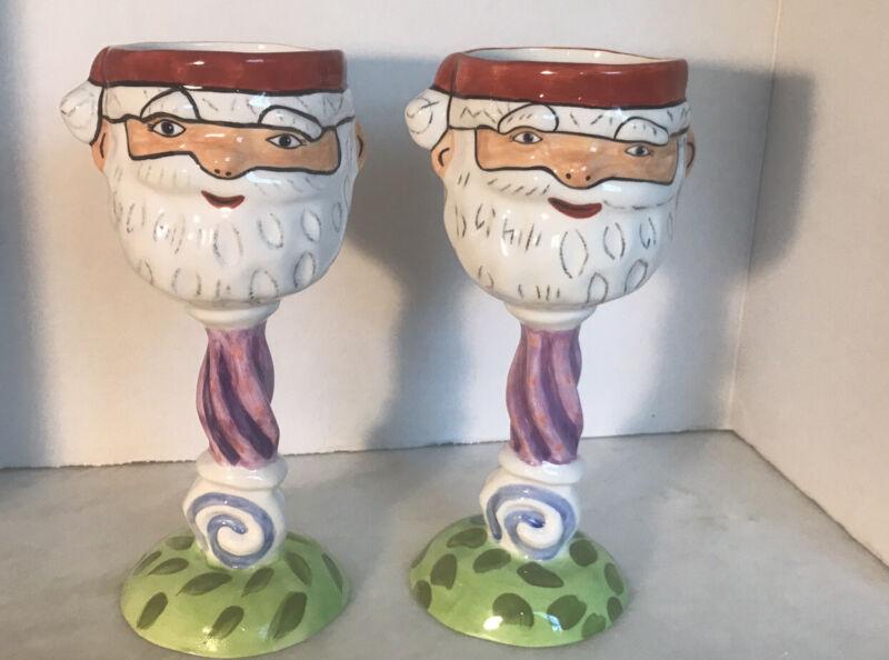 "Pair Of 2 Department 56 Ceramic Santa Egg Nog Wine Goblets 9"""
