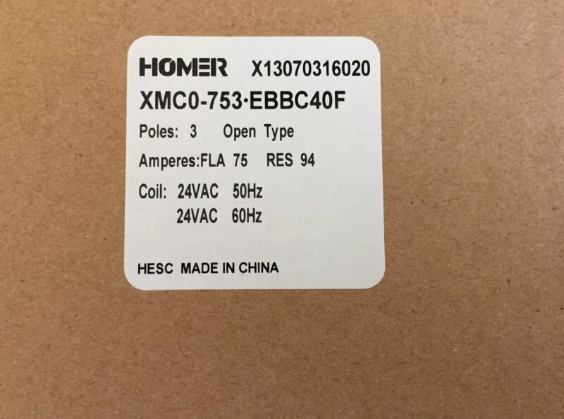HOMER / CARRIER CONTACTOR XMCO-753-EBBC40F 600V 75FLA 94RES