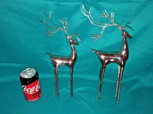 """Pair Modernistic Shiny Chrome Metal Reindeer Standing Figures Mom & Baby 12"""""""