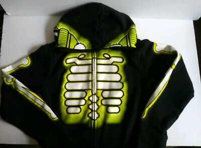 Tony Hawk Skeleton Hoodie Sweatshirt black Zip Up Halloween Costume Boy's L ](Tony Hawk Halloween)