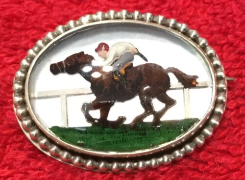 Racing Race Horse Oval Crystal and Sterling Silver Pin Brooch