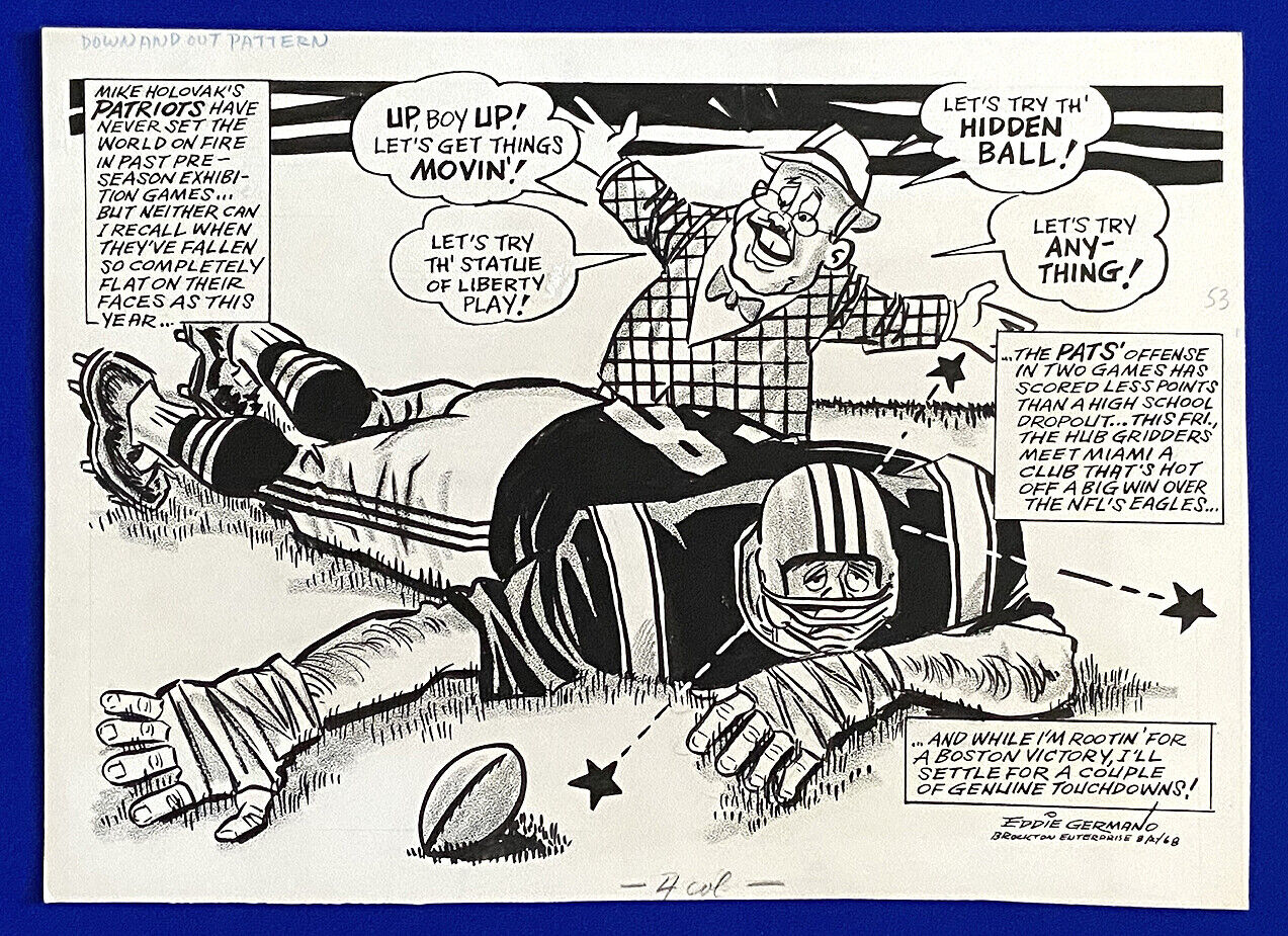"1968 patriots mike holovak ""down and out pattern"" 11x15 original cartoon art"