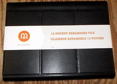 Expanding File 13-pocket Black Leather Magnetic Closure 13 X 10.25 X 1.5