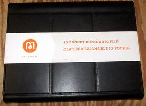 Expanding File, 13-Pocket Black Leather Magnetic Closure 13