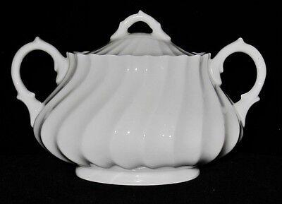 Royal Doulton WHITE SWIRL SCALLOPED Covered Sugar Bowl  Royal Doulton Covered Sugar Bowl