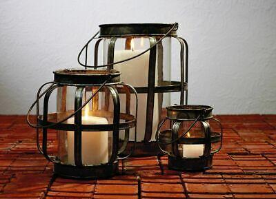 Galvanized Metal & Glass Lantern Rustic Candle Holder Brown Rustic Candle Holder