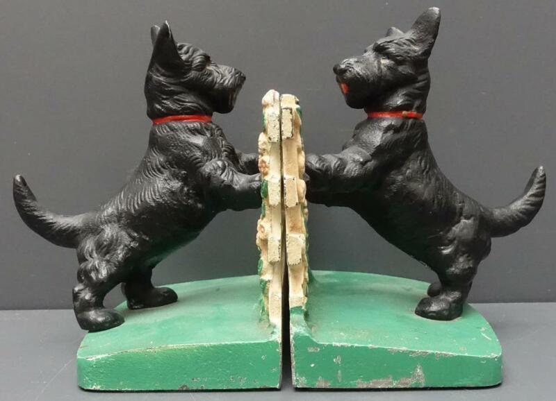 Vintage Hubley Cast Iron Scottie Dog Flower Fence Art Statue Bookends #430 USA