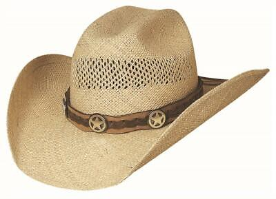 LONE GUNMAN Natural Genuine Panama Straw Western Cowboy Hat Bullhide MonteCarlo