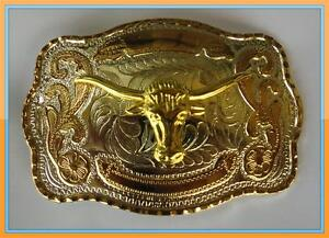BULL ANIMAL LONG HORN RODEO BIG COWBOY WESTERN SHINE BELT BUCKLE