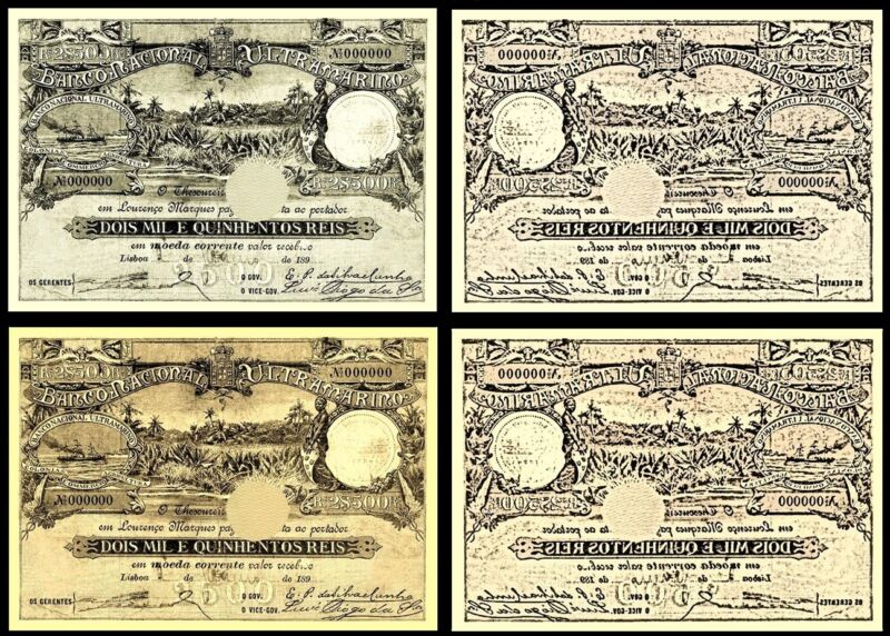 !COPY! 2 MOZAMBIQUE 2$500 REIS 1897 BANKNOTES !NOT REAL!