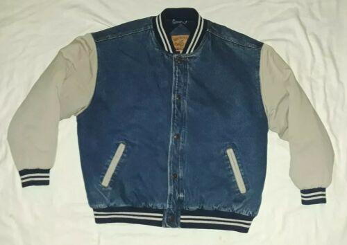 Vintage IN CROWD Stone Wash Denim Varsity Jacket by Celebrat