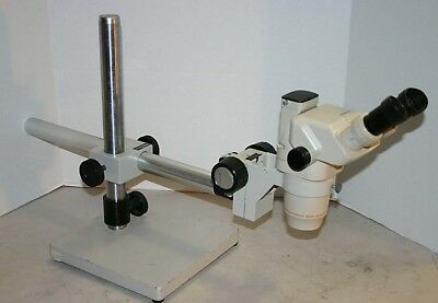 Olympus Sz-6045 Trinocular Stereozoom Microscope Boom Stand Nice