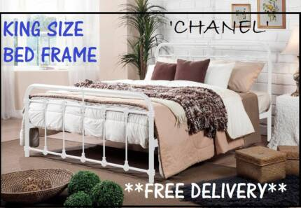 NEW King Size Bed Frame ANTIQUE STYLE White Bed DELIVERED FREE