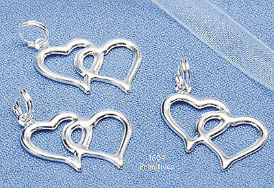40 Double Heart Charms ~ Wedding / Bridal Favor Shower Embellishments