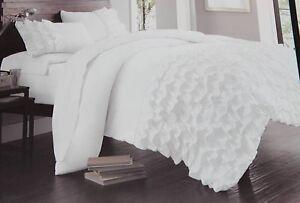 Cynthia Rowley White Ruffle 3pc Full Queen Comforter