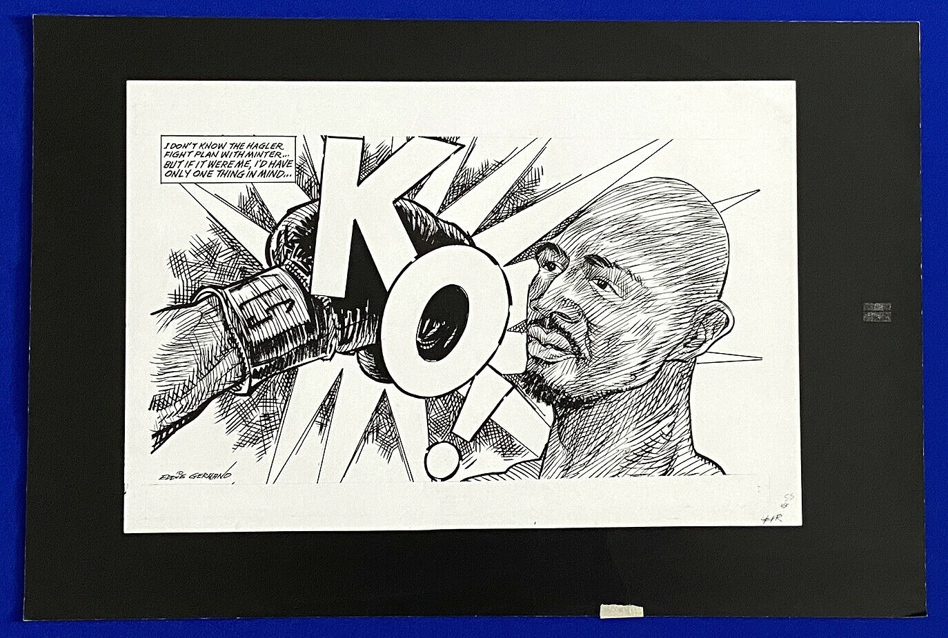 1980 marvin hagler alan minter ko boxing 16x24 original cartoon art by germano