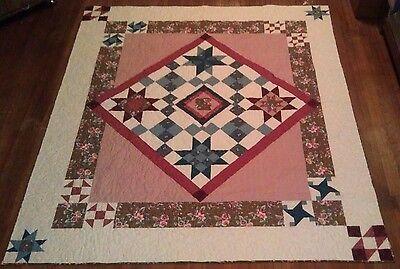 Joann Pink & Brown Vintage Treasure 73 x 85 Handmade Patchwork queen size quilt