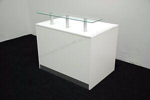 WHITE RECEPTION DESK ,NEW HIGH QUALITY ,ALUMINUM PLINTH,GLASS SHELF