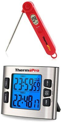 ThermoPro Instant Read Digital Meat Thermometer&Kitchen Timer for BBQ Oven Grill