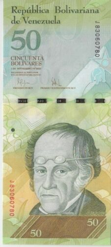 Venezuela Banknote P92 50 Bolivares 3 Sep 2009, Prefix J, UNC