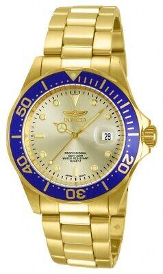 Invicta Men's Watch Pro Diver Dive Quartz Gold Tone Dial Steel Bracelet 14124