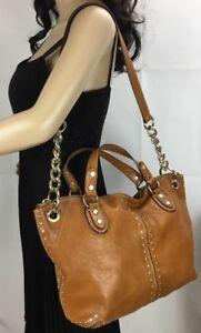 Michael Kors Luggage Tan Leather Astor Studded Uptown Satchel Bag