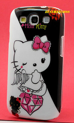 FOR SAMSUNG GALAXY S3 PHONE hello kitty kitten CASE BLACK WHITE PINK S (Hello Kitty Phone Case For Galaxy S3)