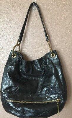 (Oryany Lucy Black Patent Shiny Leather Large Hobo Shoulder Handbag)
