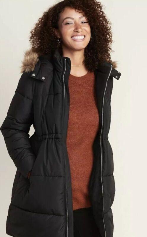 Old Navy Maternity Frost Free Fur Puffer Black Longline Coat Sz XL NWT 335745