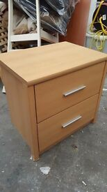 BEDSIDE TABLE BEDSIDE CABINET 2 DRAWERS GOOD CONDITION SILVER HANDLES