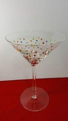 Polka Dot Martini Glass (es) Clear Glass Multicolor Mini Dots Martini Dot