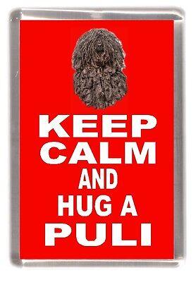"Hungarian Puli Dog Fridge Magnet ""KEEP CALM AND HUG A PULI"" by Starprint"