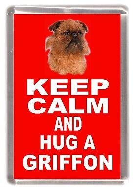 "Griffon Dog Fridge Magnet ""KEEP CALM AND HUG A GRIFFON "" by Starprint"