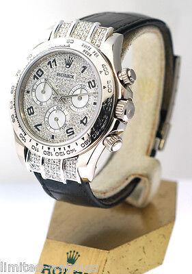 116519 ROLEX DAYTONA WHITE GOLD WATCH ON STRAP CUSTOM PAVE DIAMOND FACE/LUGS